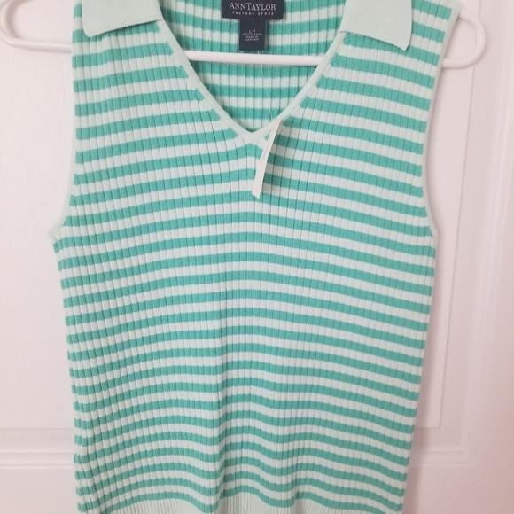 Ann Taylor Factory Tops - Ann Taylor mint/aqua  striped top